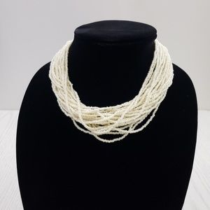 Vintage Multi Strand White Seed Bead Necklace